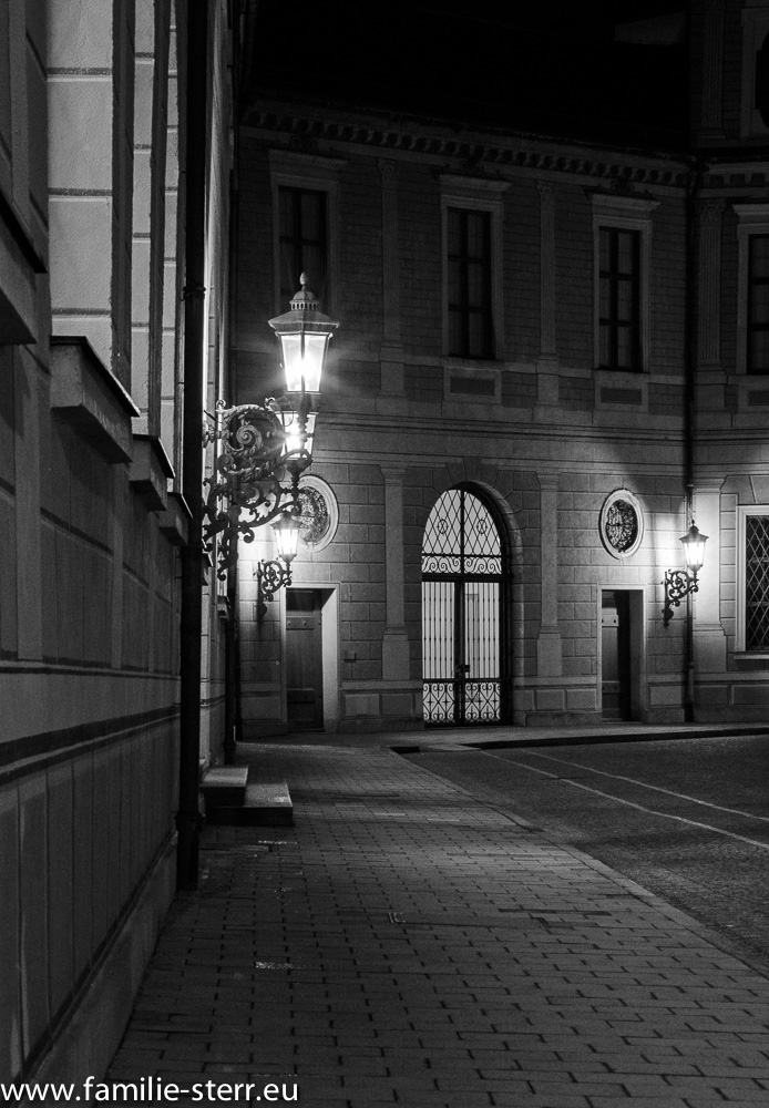 S/W - Aufnahme im Brunnenhof der Residenz München bei Nacht