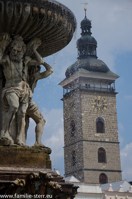 Samsonbrunnen und Schwarzer Turm in Budweis