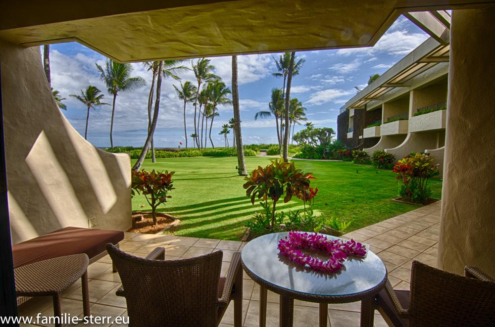 Terrasse vor dem Zimmer auf Kauai