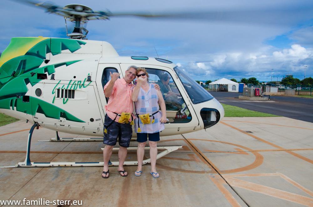 Astrid und Thomas nach dem Flug