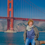 Astrid an der Golde Gate Bridge / San Francisco