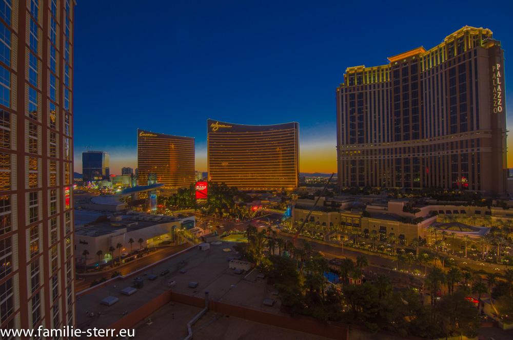 Blick aus dem Zimmer in Las Vegas bei Sonnenaufgang