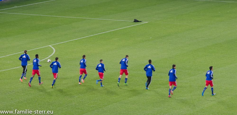 HSV beim Aufwärmtraining vor dem Spiel gegen Schalke 04