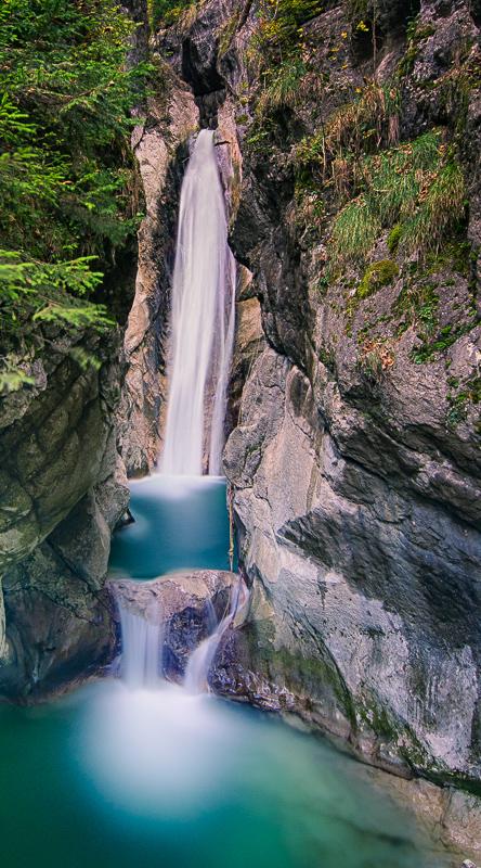 Unterer Bereich des Auerbach - Wasserfalls bei Oberaudorf
