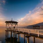 Pavillon am Bodensee - Ufer in Bregenz bei Sonnenuntergang / Valtentinstag
