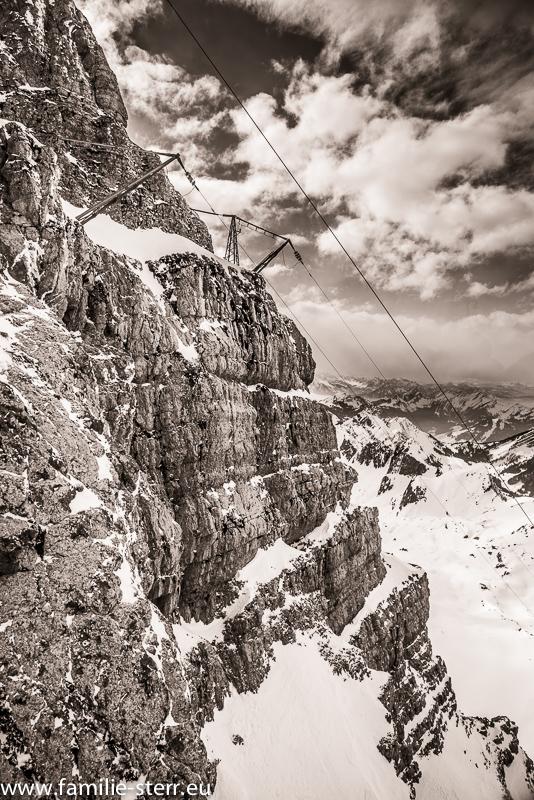 winterliche Felsen am Säntis im Appenzell