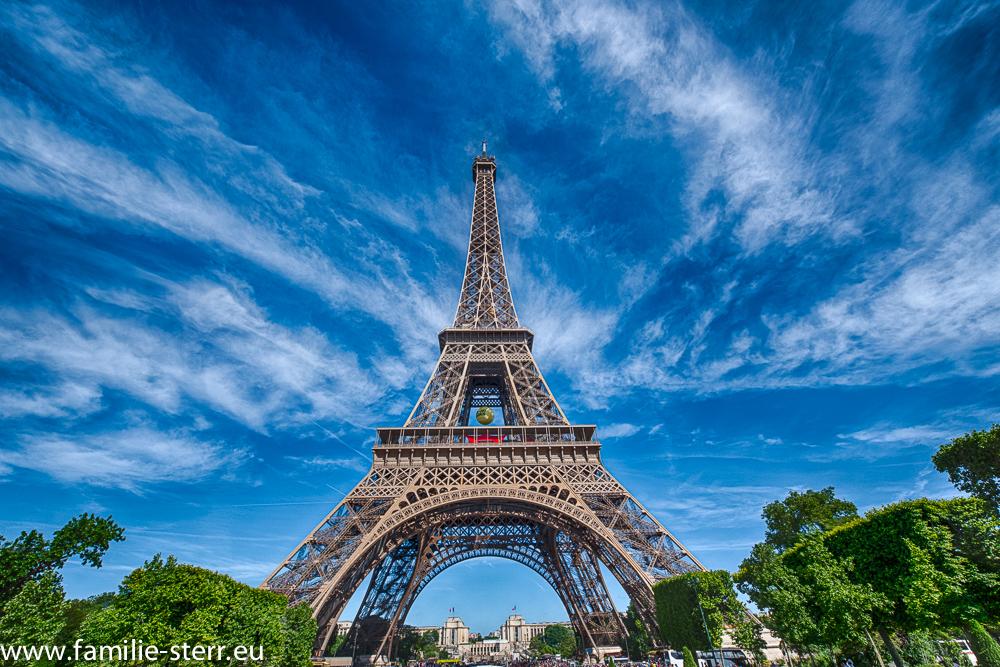 der Eiffelturm vor dem Trocadero