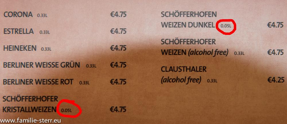 Getränkekarte im Hard Rock Cafe Berlin