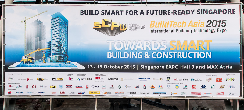 Schild am Eingang zur Build Teich Asia am Expo Center Singapur