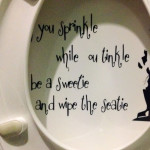 You sprinkle while ou tinkle, so be a sweetie and swipe the seatie