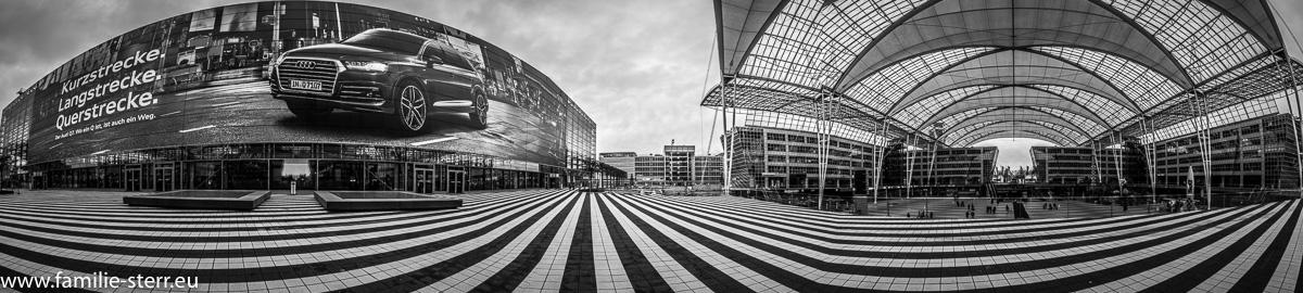 180 Grad Panorama vom Terminal 2 und Forum Munich Airport Center