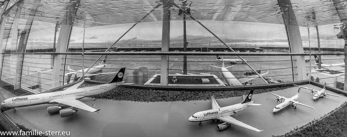 Modellflugzeuge auf der Terrasse am Terminal 2