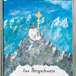 """Hinweisschild """"Das Bergschwein"""" auf der Zugspitze"""