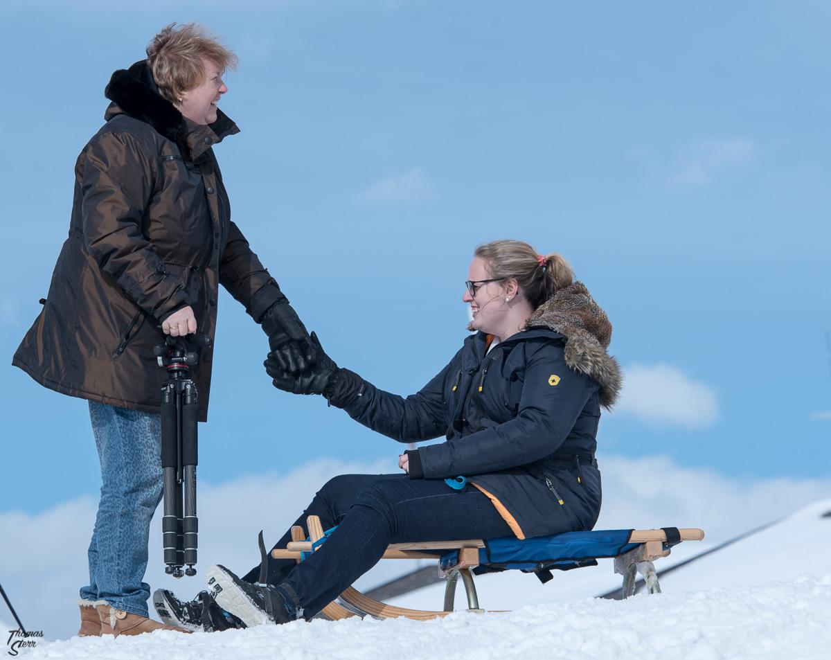 Astrid und Katharina an der Bergstation am Rinerhorn
