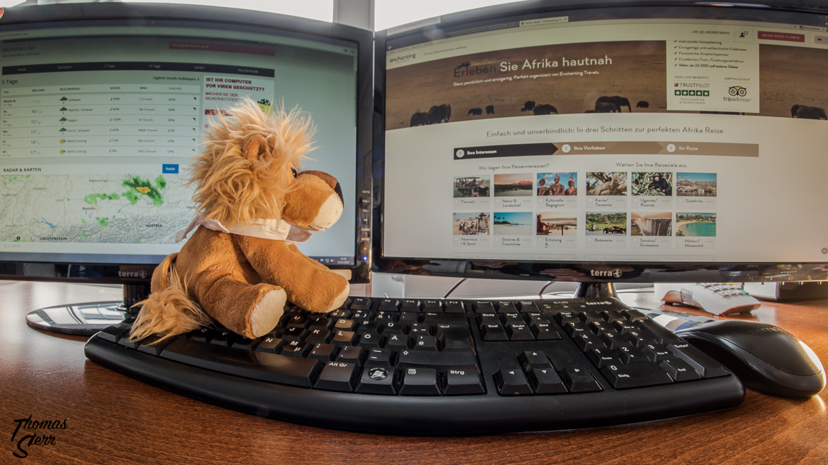Leopold vor dem Computerbildschirm