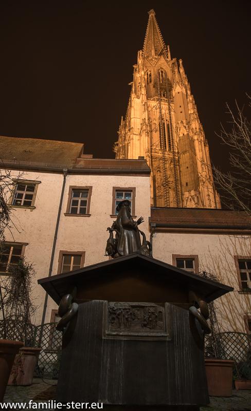 Der Dom in Regensburg am Abend vom Bischofshof aus
