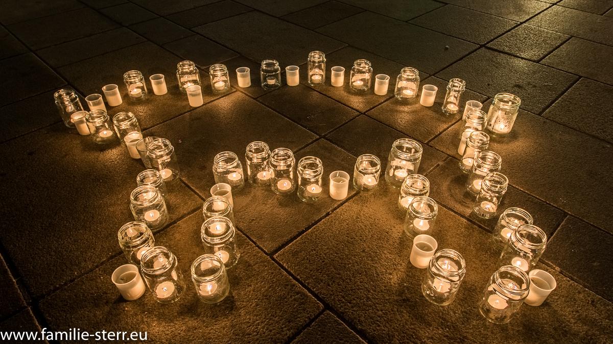 Eisbär aus Kerzen auf der WWF Demo zur Earth Hour in Regensburg