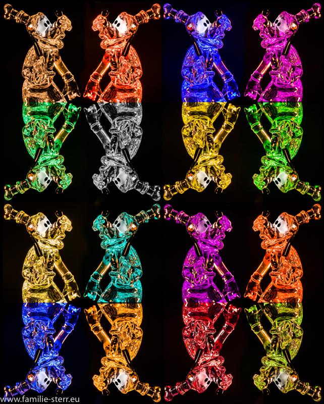 Arrangement von farbig beleuchtete n Goofy - Figuren