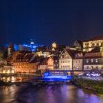 Kronach Leuchtet 2016 - Blich über die Hasslach auf die beleuchtete Obere Stadt