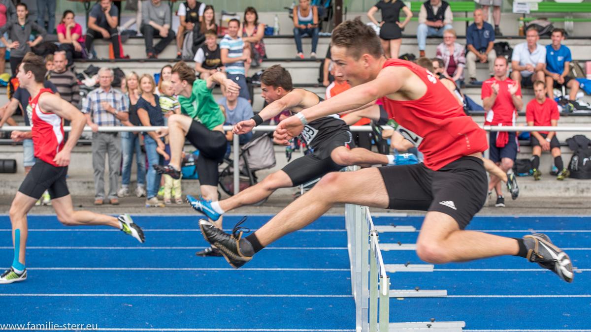 Hürdensprint der Männer - Leichtathletik Bayerische Meisterschaften 2016 in Erding