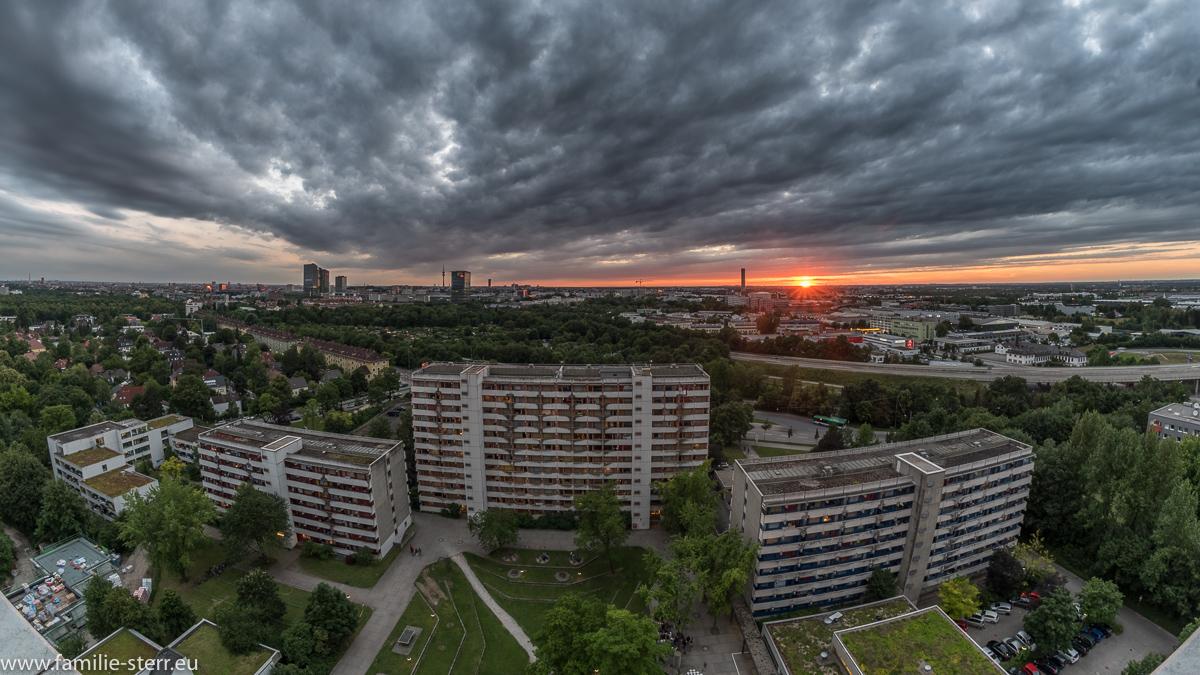 Sonnenuntergang über den Münchner Dächern