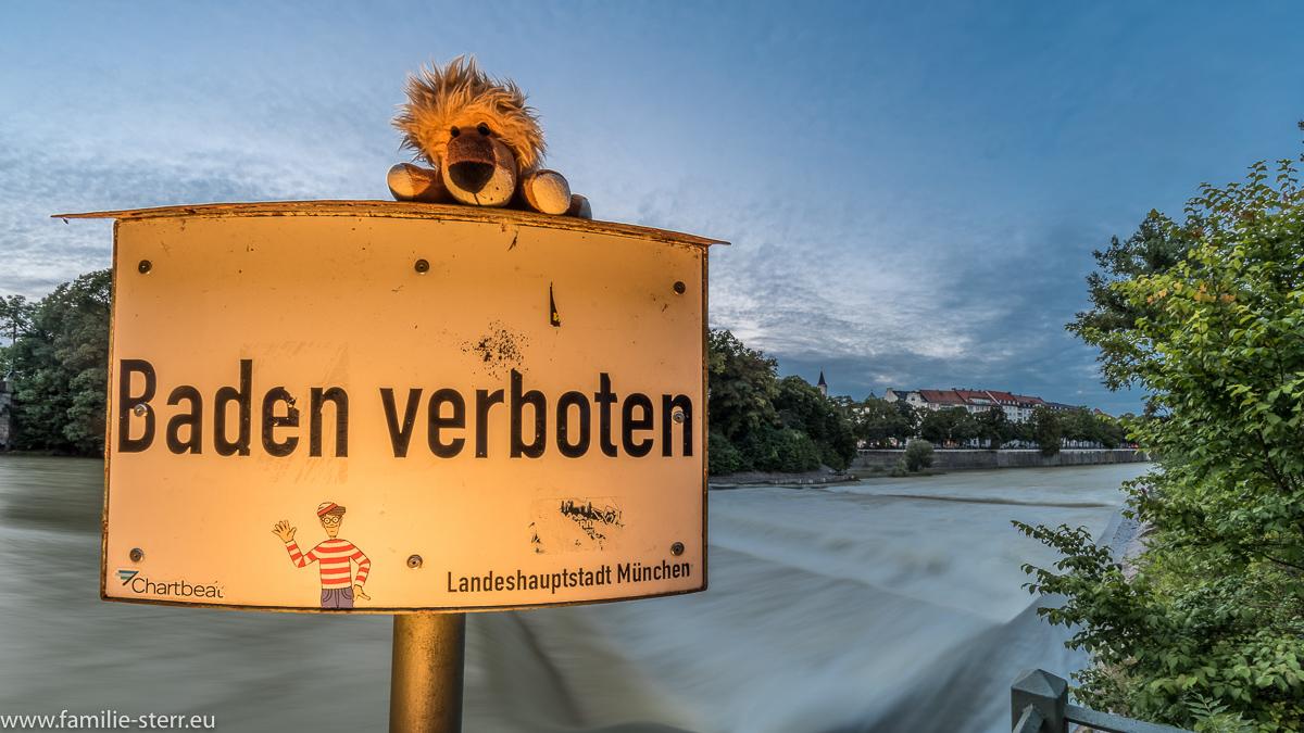 """Leopold auf einem """"Baden verboten"""" Schild an der Isar in München"""