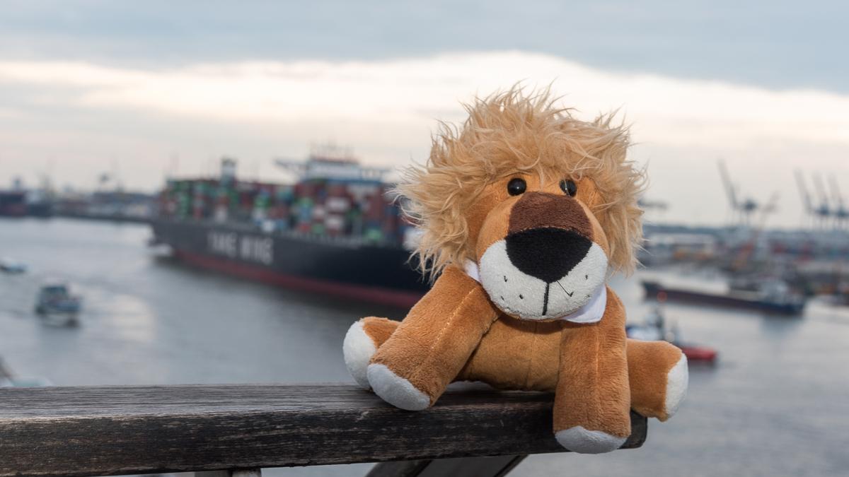 """Leopold auf dem """"Dockland"""" in Hamburg mit Blick auf die Elbe"""