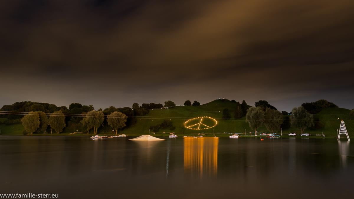 Lichtsymbol auf dem Olympiaberg vor dem Feuerwerk / imPark Sommerfestival 2016