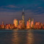 Skyline Downtown Manhattan bei Sonnenuntergang