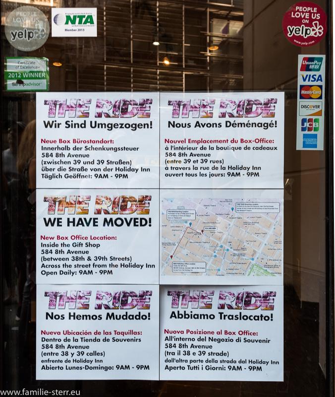Umzugshinweis - Schild am ehemaligen Büro von The Ride in New York am Times Square