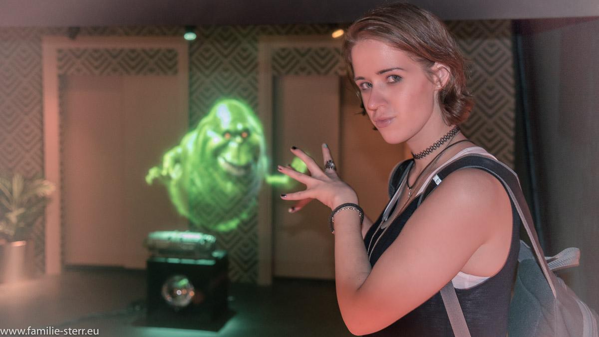Melanie und der Geist bei Madame Tussaud in New York