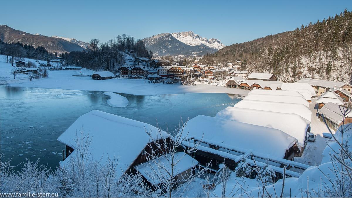 Blick vom Cafe Malerwinkl über den Königssee Richtung Berchtesgaden