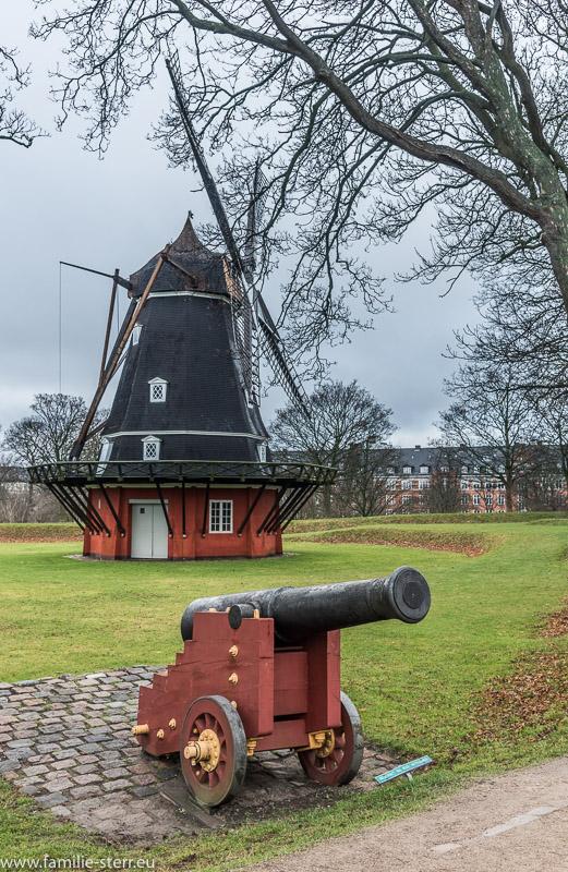Windmühle und Mörser im Kastellet in Kopenhagen