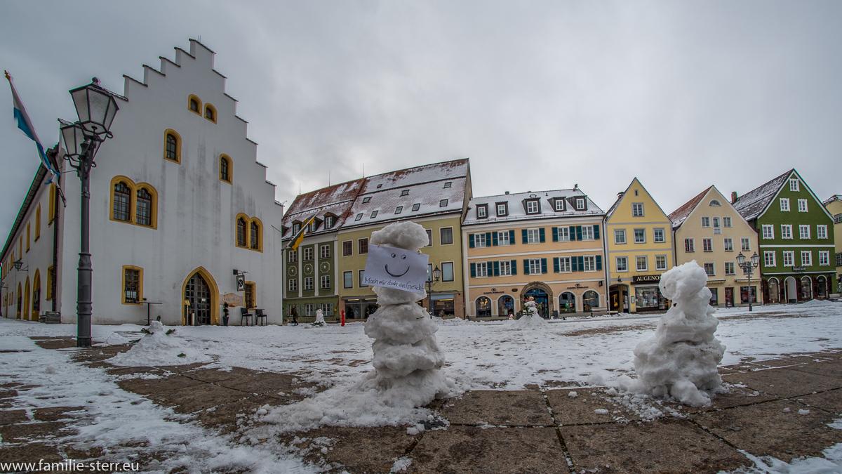 Schneemann beim Schneemann - Flashmob in Schongau / Marienplatz Schongau