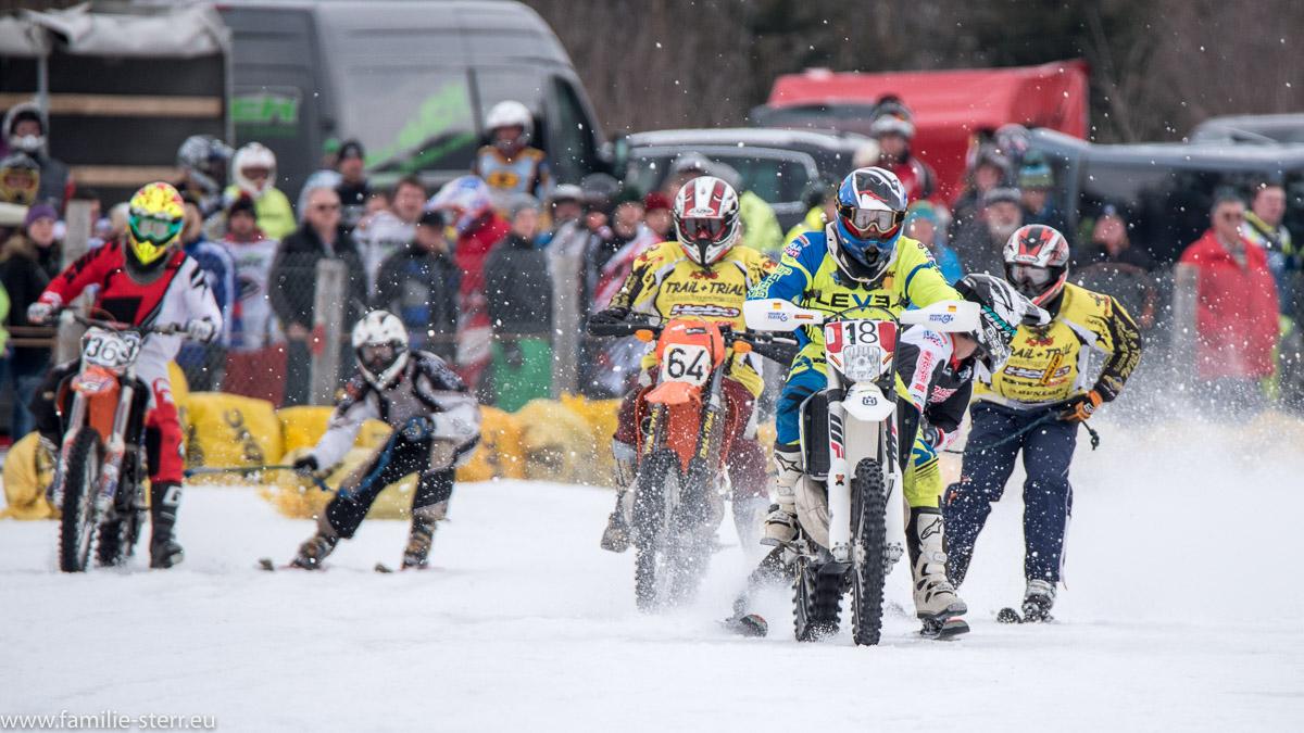 Positionskämpfe beim Skijöring beim MSC Steingaden 2017