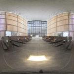 Der sehr moderne Innenraum der Herz-Jesu-Kirche München als Kugelpanorama