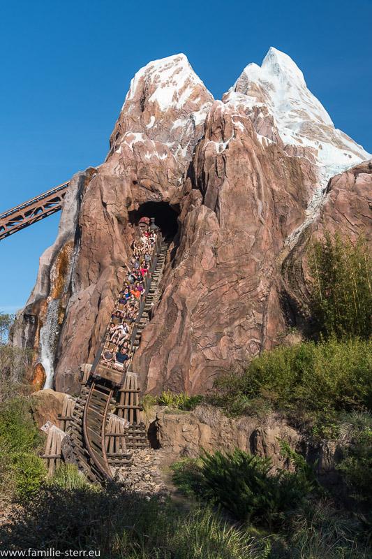 """Achterbahn """"Expedition Everest"""" - Wagen auf dem Weg nach unten"""