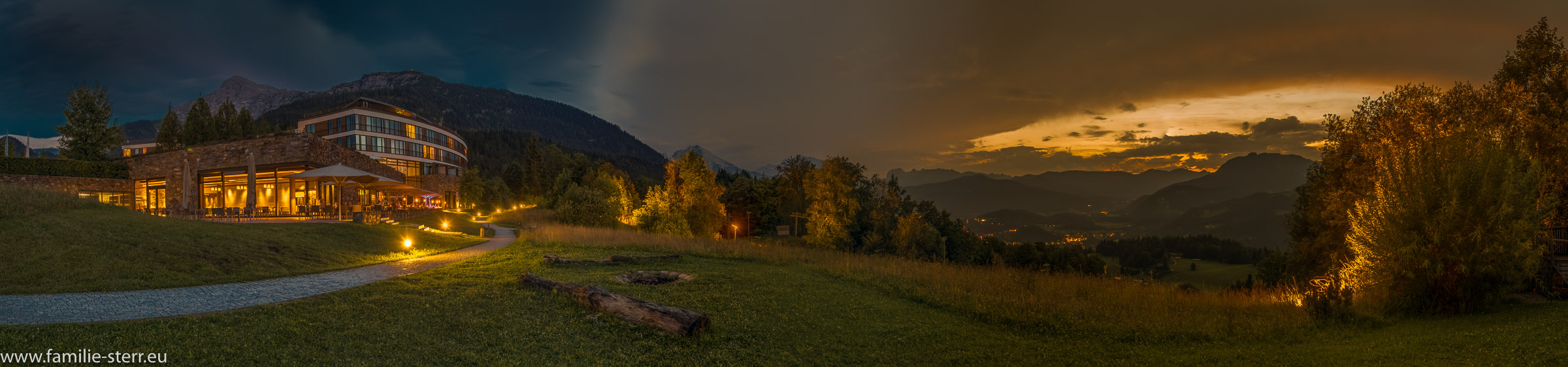 Sonnenuntergangspanorama vom Obersalzberg