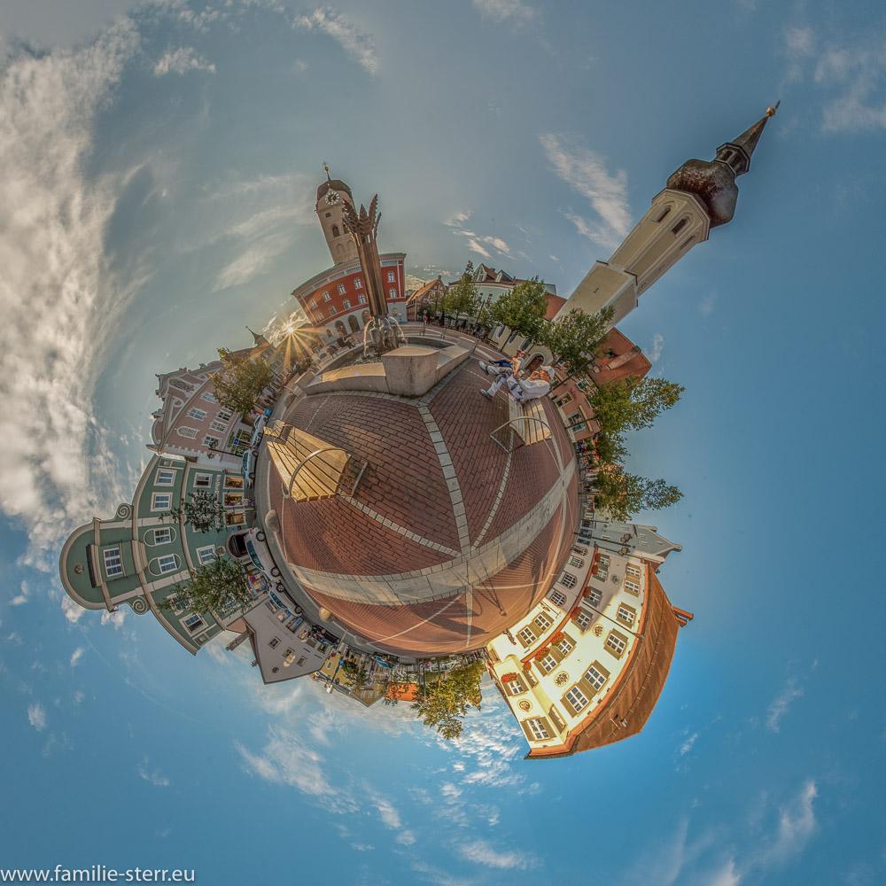 Schrannenplatz und Ährenbrunnen als Little Planet