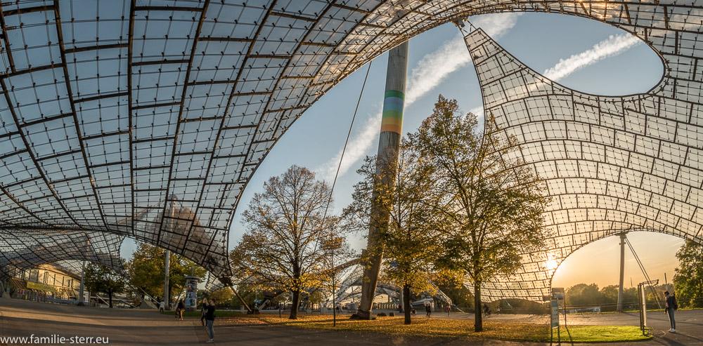 geschwungene Linien des Zeltdachs im Olympiapark über Bäumen mit herbstlich gefärbtem Laub
