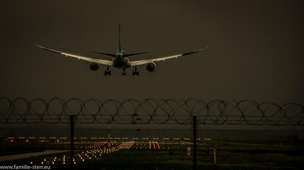 Flugzeug der ANA am Abend bei der Landung am Flughafen München