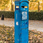 Old Blue Police Telephone Post am Grosvenor Square in London