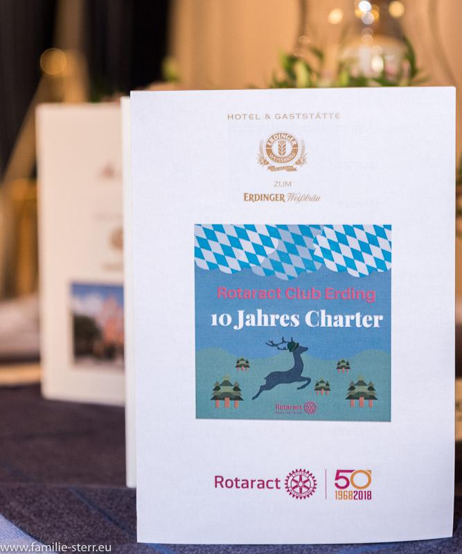 Menükarte zur Rotaract Erding - Charter Feier 2016