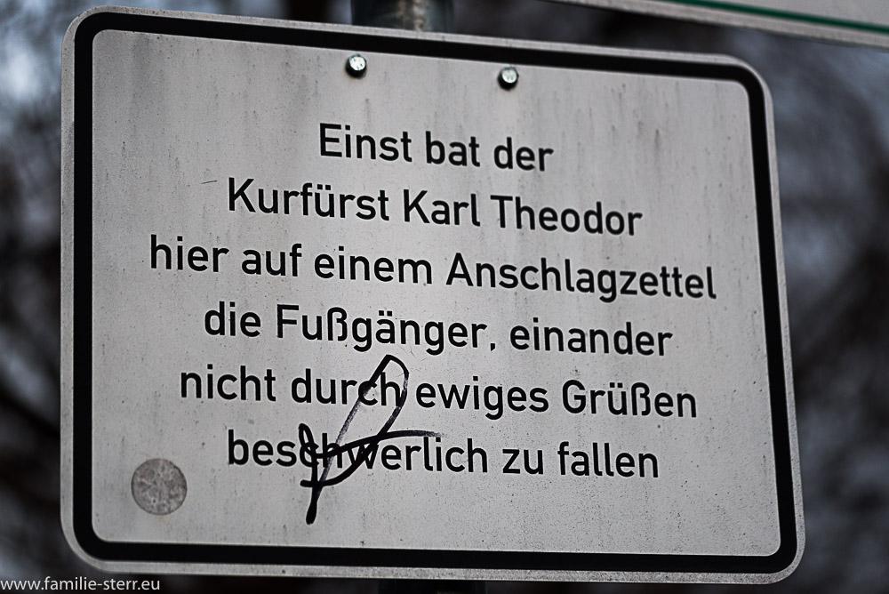 """Hinweisschild """"Nicht mehr Grüßen"""" in München am Hofgarten"""