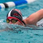 Marion Joffle auf der 1000m - Freistil - Strecke bei Eisschwimmen / German Open 2018 in Veitsbronn