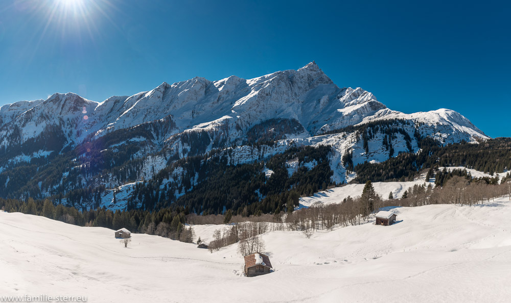 schneebedeckter Piz Severin bei Taschappina im Kanton Graubünden