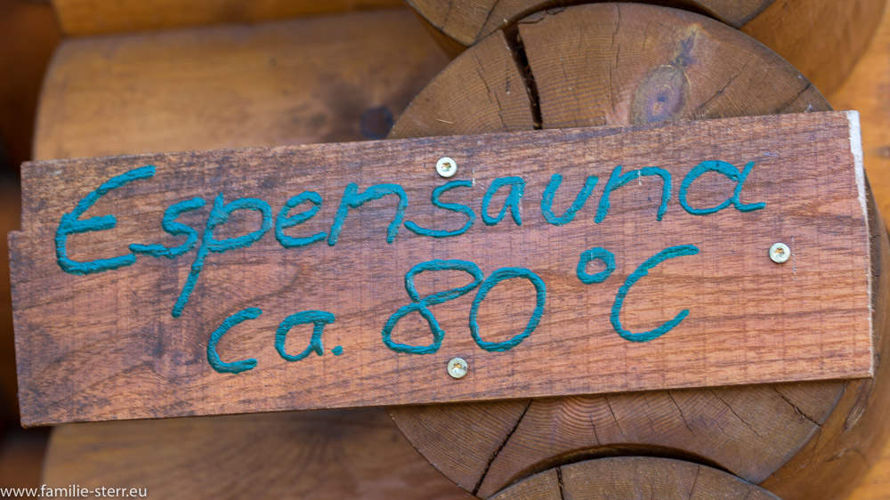 Schild zur Espensauna im Seehotel Burg Spreewald