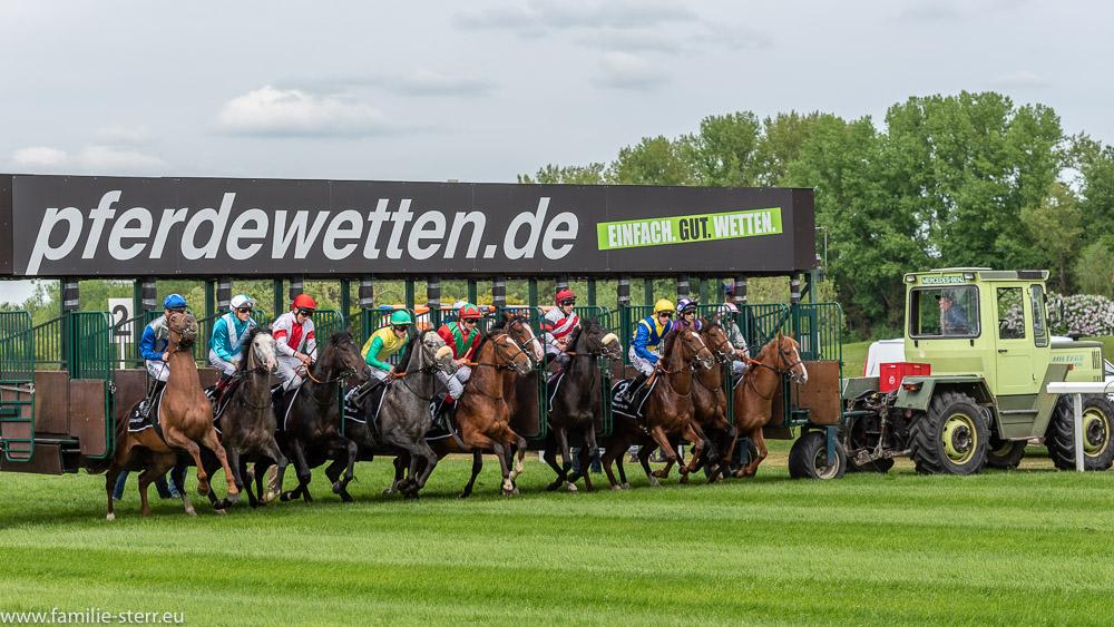 Start eines Galopprennens / Saisoneröffnung 2018 in München Riem