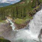 Ausblick von der Riemann - Kanzel auf den unteren Fall der Krimmler Wasserfälle