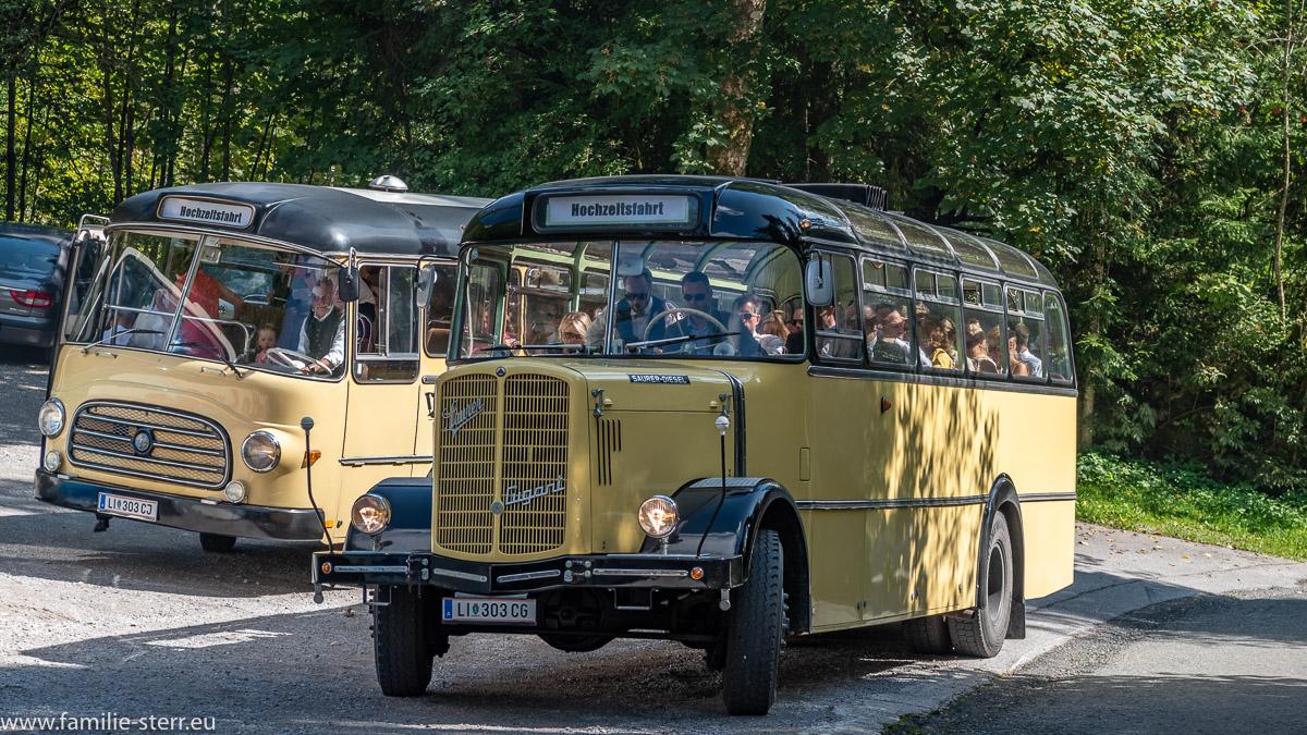 zwei historische Busse vor der Wallfahrtskirche Maria Kirchenthal